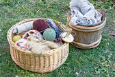 Handcraft items in baskets — Stock Photo