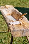 Staré dřevěné prádelna vana — Stock fotografie