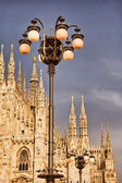 Milan Cathedral and street lights — Foto de Stock