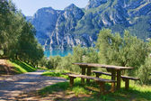 Picnic table by the lake — Stock Photo