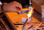 Glassblower working — Stock Photo