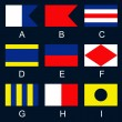 Maritime signal flags A-I — Stock Vector