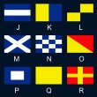 Maritime signal flags J-R — Stock Vector