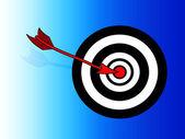Bullseye isabet ok — Stok Vektör