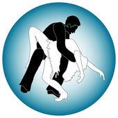 Bailarines de hombre y mujer — Vector de stock
