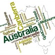 Australia map and cities — Vettoriali Stock