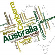 Australia map and cities - Stock Vector
