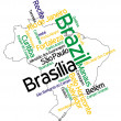 Stock Vector: Brazil map and cities