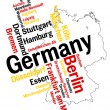Germany map and cities - Stock Vector
