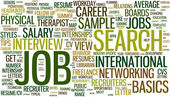 Wordcloud hledání zaměstnání — Stock vektor