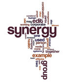 Synergy and teamwork related terms in a wordcloud — Stock Vector