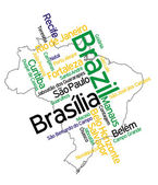 Brazil map and cities — Stock Vector