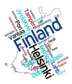 Finland map and cities — Stock Vector