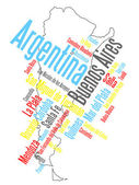 Argentina map and cities — Stock Vector
