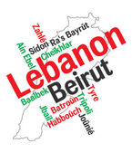 Lebanon map and cities — Stock Vector