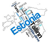 Estonia map and cities — Stock Vector