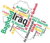 Iraq map and cities — Vetor de Stock