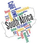 Villes et carte de l'Afrique du Sud — Vecteur