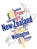 New Zealand map and cities — Stock Vector