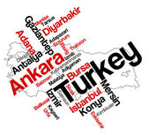 Turkey map and cities — Stock Vector