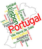 Portugal map and cities — Stock Vector