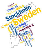 Sweden map and cities — Stock Vector