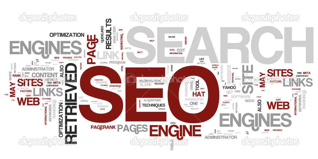 Words in a wordcloud related to SEO - search optimization concept — Stock Vector #8521509
