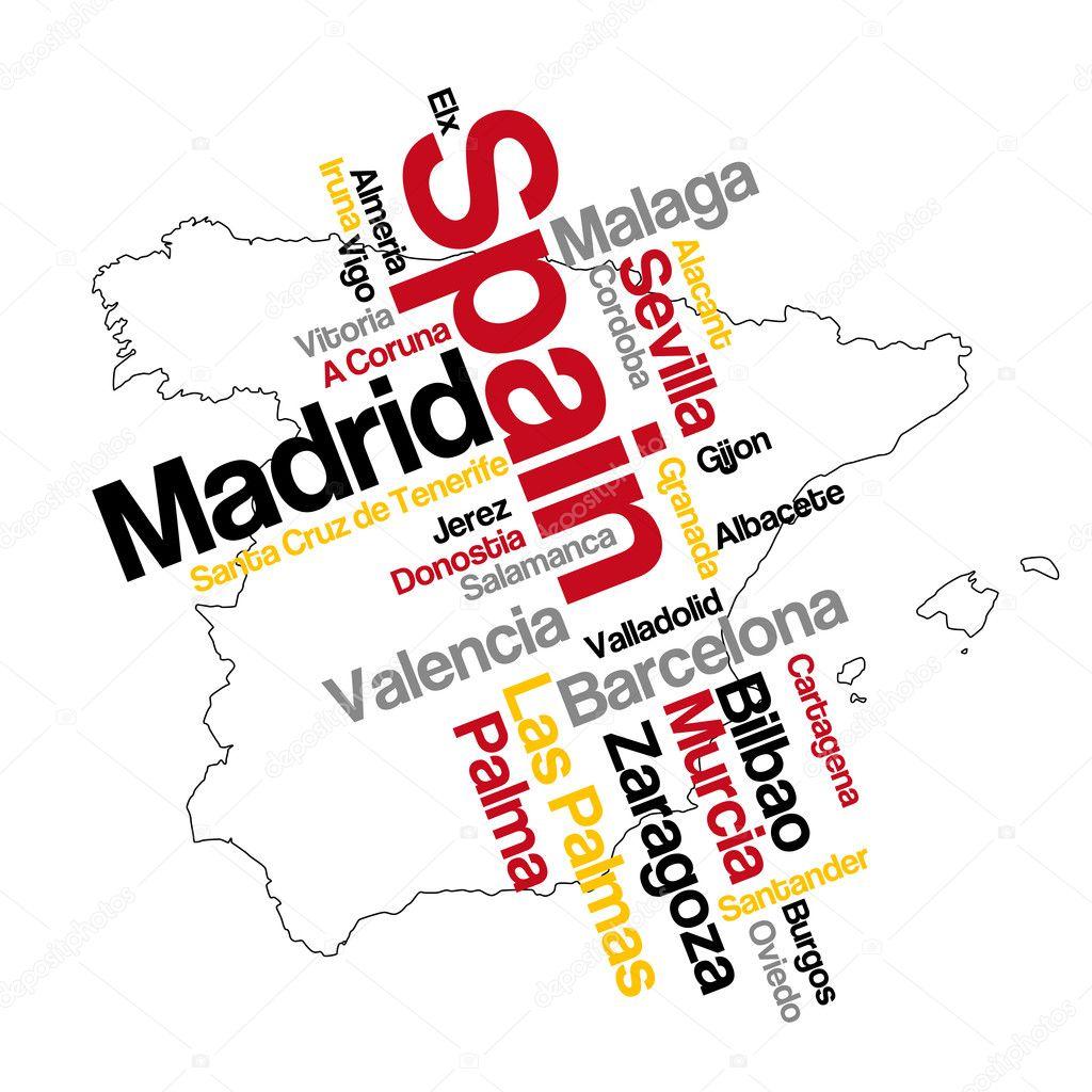 西班牙地图和城市 — 图库矢量图像08
