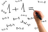 Hand drawing mathematical equations — Stockfoto
