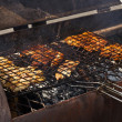 Grilling tench fish — Stock Photo