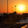 Sunset at the port — Stockfoto