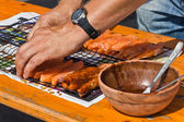 Preparing salmon for BBQ — 图库照片