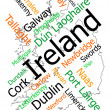 Ireland map and cities — Stock Vector