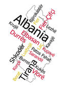 Albania map and cities — Stock Vector
