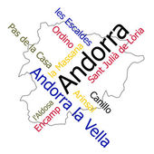 Andorra map and cities — Stock Vector
