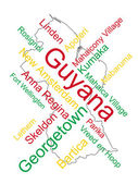 Guyana Map and Cities — Stock Vector