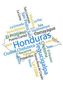 Honduras Map and Cities — Stock Vector