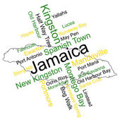 Jamaica Map and Cities — Stock Vector