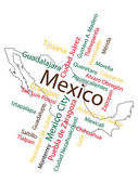 Mexico Map and Cities — Stock Vector