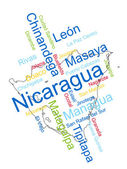 Nicaragua Map and Cities — Stock Vector