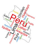 Peru Map and Cities — Stock Vector