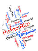 Puerto Rico map and cities — Stock Vector