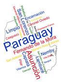 Paraguay Map and Cities — Stock Vector