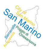 San Marino map and cities — Vector de stock