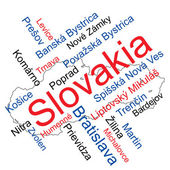 Slovakia map and cities — Stock Vector