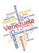 Venezuela Map and Cities — Stock Vector