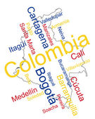 Colombia map and cities — Stock Vector