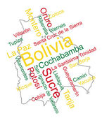 Bolivia map and cities — Stock Vector