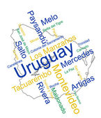 Uruguay map and cities — Stock Vector