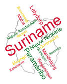 Suriname map and cities — Stock Vector